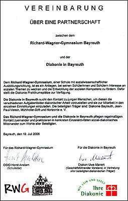 Die Partnerschaft mit der Diakonie in Bayreuth wurde 2006 besiegelt.