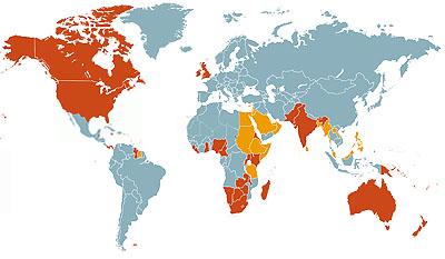 Englisch ist in vielen Ländern die Muttersprache (rot) und Geschäfts- oder Verkehrssprache (orange). Quelle: Stat. Bundesamt
