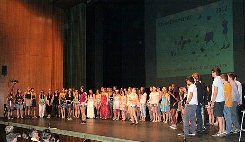 Der Große Chor bei einem Auftritt während des Sommerkonzerts in der Stadthalle.