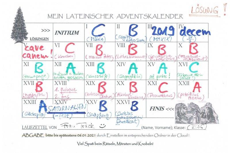 Lateinischer Adventskalender - die Auswertung